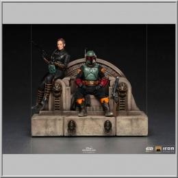 Iron Studios Boba Fett & Fennec on Throne - Star Wars The Mandalorian